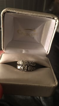 Silver crescent diamond studded cluster ring with box