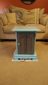 Aqua and gray wood cabinet or side table Kansas City, 64133