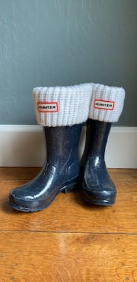 Kids Hunter Rain Boots  -Navy Blue Sparkle - Size 13 (Includes white welly socks)