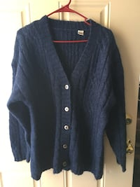 Mens used size M cardigan wool blue sweater in great condition located off lake mead and jones area asking $3