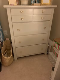 White dresser and lingerie chest with gold knobs