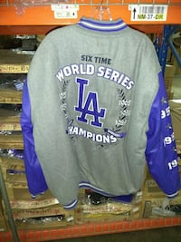 Mens Dodgers commemorative wool and leather jacket