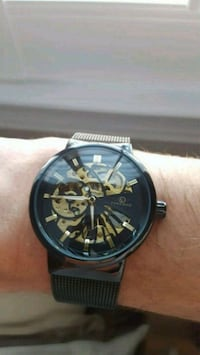 Black and Gold Skeletal Watch Markham, L3R