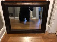 rectangular brown wooden framed mirror Hanover