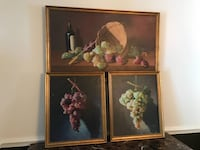 ::MOVING:: ::MUST GO NOW:: Set of 3 M.V. Millan original oil on canvas grapes wine - $3000 (Reston) MUST GO Reston, 20191