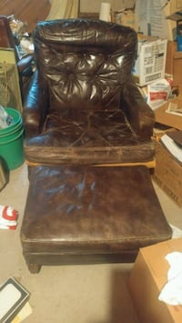 MCM leather chair & ottoman Norman