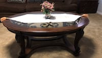 Oval brown wooden coffee table Center, 75935