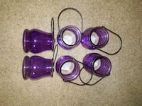 purple and gray glass candle holder Charlotte, 28277