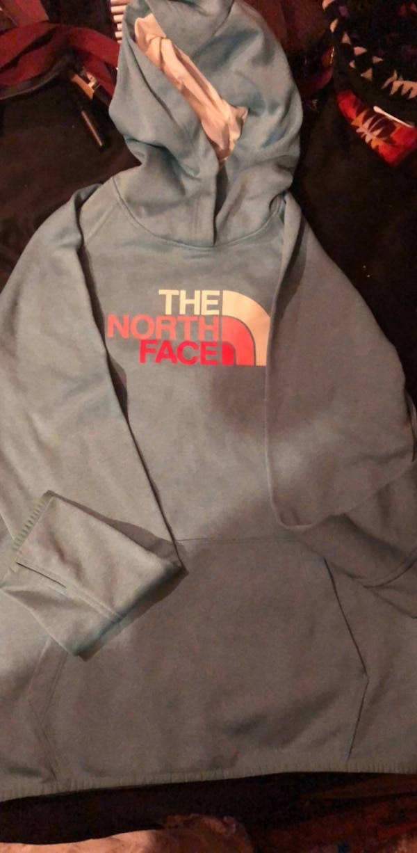 Teal the north face hoodie size L