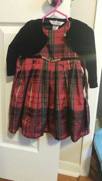 red and black plaid scoop-neck dress