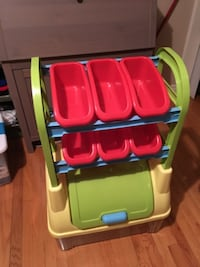 yellow, red, and blue plastic toy organizer Cresskill, 07626