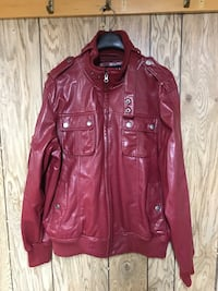 Faux leather red jacket sz LG mens Dartmouth, B3A