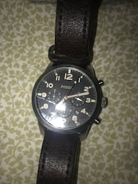 round black chronograph watch with black leather strap Rockwell, 28138