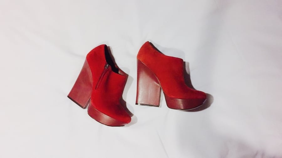 Red Italian Leather Runway Platform Booties df11c5d8-e725-463e-8149-2b1a20af6712