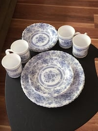white and blue floral ceramic dinnerware set Simpsonville, 29681