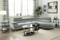 2 Piece Faux Leather With Rounded Chaise In Light Grey FREE DELIVERY