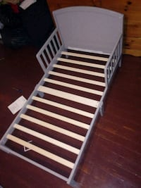 white and black wooden bed frame East Orange, 07018