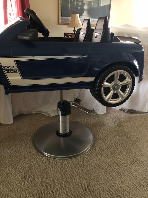 Superb Blue Ford Mustang Boss 302 Barbers Chair Bralicious Painted Fabric Chair Ideas Braliciousco