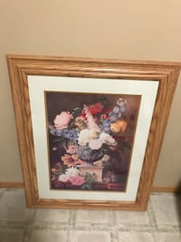 flower vase painting with brown frame