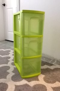 Green plastic 3 drawer organizer