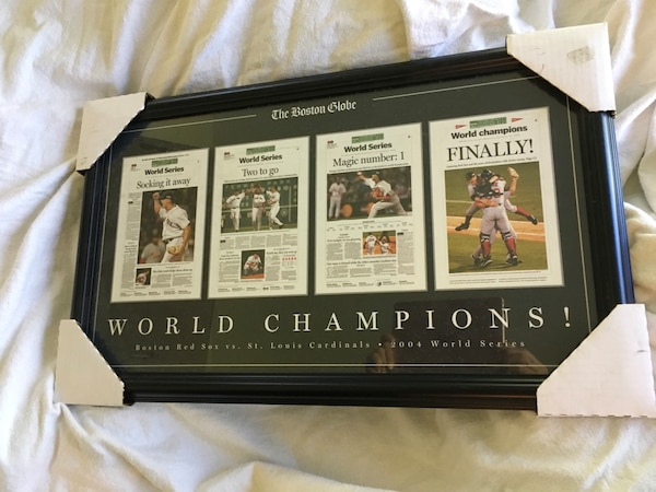 Framed 4 Boston Globe front pages from 2004 World Series