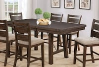 TRESTLE ANTIQUE BROWN COUNTER HEIGHT DINING TABLE Corona