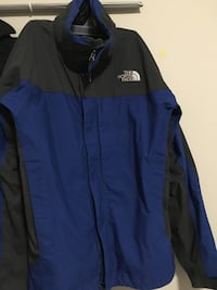 Black and blue the north face zip-up jacket. 3131 km