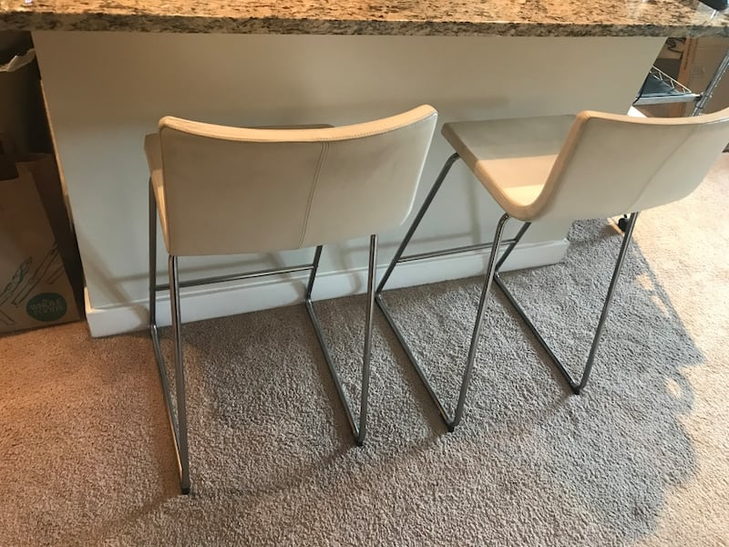 Two IKEA White Leather Barstools Bernhard Style b9bf3d20-a817-4a6f-a862-8bad827b14a2