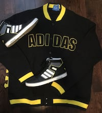 Mens Adidas Varsity Jacket (2XL) and Matching Shoes (Size 12) Whitby, L1P 0A6