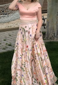 Size 3/4 Embroidered Floral Prom Dress