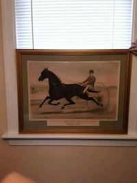 man riding horse painting with brown wooden frame Dundalk, 21222