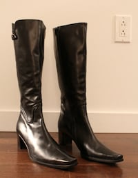 NEW Italian Andiamo High Leather Boots, Black, US 9/EU 40 Montreal