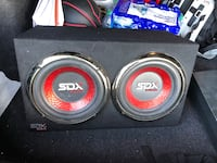 black and red MTX Audio subwoofer