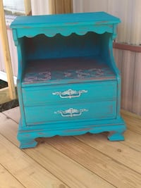 Peacock blue end table!