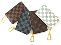 two brown, gray and white checkered print Louis Vuitton wristlet Barrie, L4N
