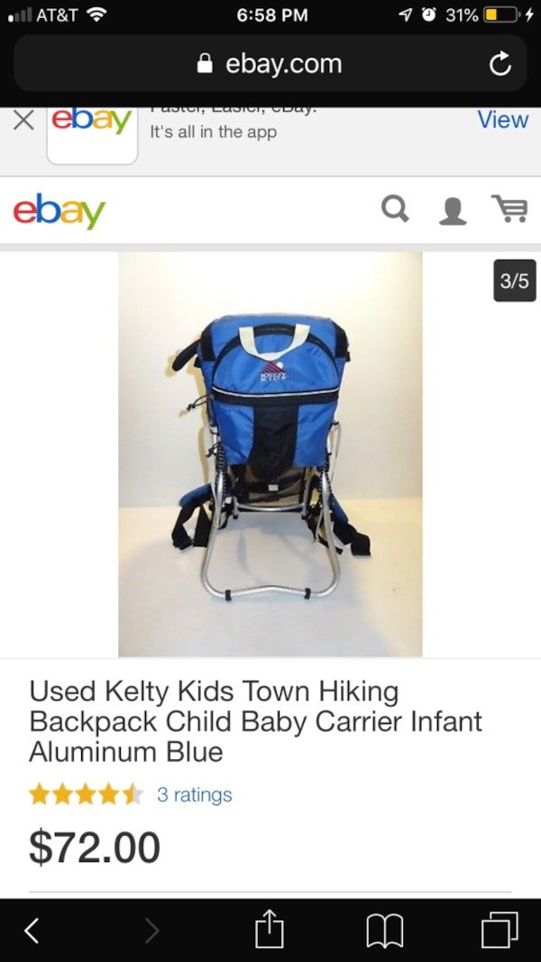 15c9aa2bd8a Used Kelty Kids hiking Baby carrying backpack for sale in Hayward - letgo