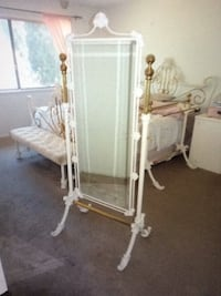 White iron and brass carved standing mirror Calabasas, 91301