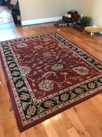 red, white, and black floral area rug Colbert, 99005