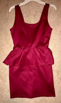 Burgundy Peplum Dress — Size Small Clinton, 49236