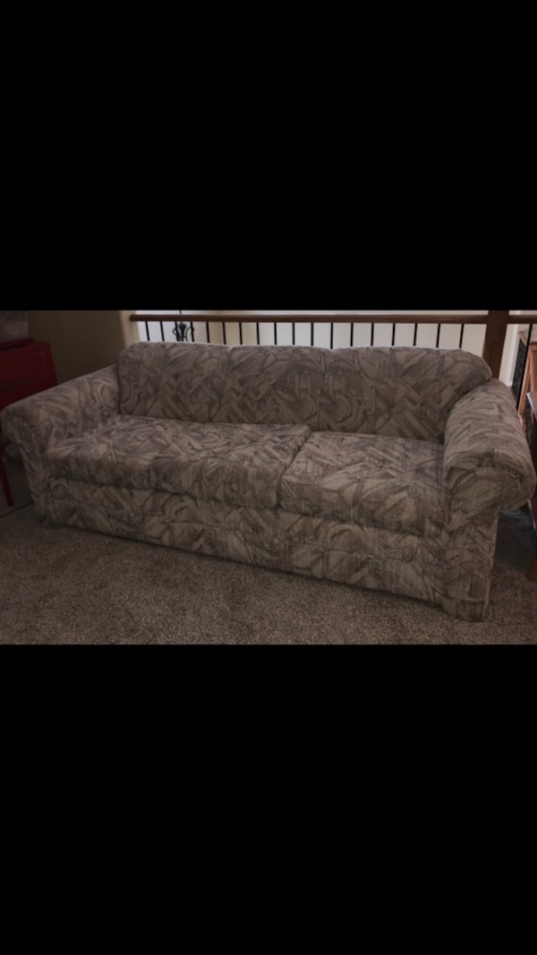 Couch and chair excellent condition $25. FCFS. If it's listed here it's still for sale. No holds sorry no rips or stains. Pet free. $25 for both!! a1c3547b-b950-4798-a155-7ace1338f99a