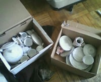 Two boxes of china tea pot and China silver trim Toronto, M6M 2A1