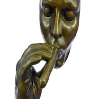 Man Smoking Cigar Bronze Sculpture on Marble Base Figurine (15X8 Inches) Sterling