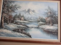 brown wooden frame tree painting