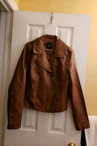 Womens Brown Faux Leather Jacket Vaughan