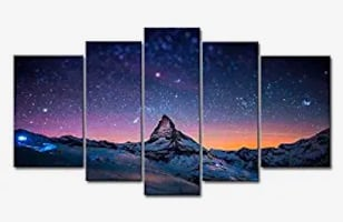 Color 5 Piece Wall Art Painting Starry Night Sky Over The Mountains