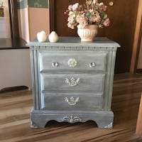 Costal nightstand,solid wood,seafoam green,crystal knobs