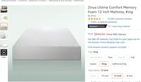 Zings King Size Mattress, Frame, and Memory Foam Topper
