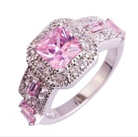 Beautiful Stamped 925 Sterling Silver pl  with Pink and White Topaz sz 13! SALE!!!!!!!!! SIZE 13!!!!!!!! Coleman, 76834