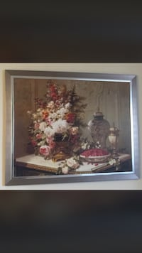 assorted flower centerpiece painting with brown frame