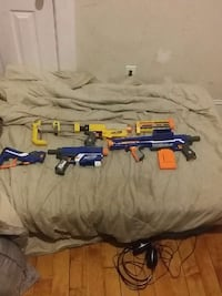 Used Blue White And Black Plastic Nerf Gun For Sale In